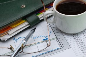 cup, notebook, work